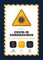 prevenção de covid-19 tudo em um pôster de ícone