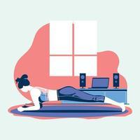 exercício esportivo e treinamento em casa durante o coronavírus covid-19 vetor