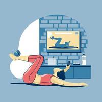 exercício esportivo e treinamento em casa durante covid-19 vetor