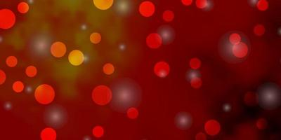 modelo de vetor laranja claro com círculos, estrelas.