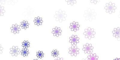 padrão de doodle de vetor rosa e azul claro com flores.