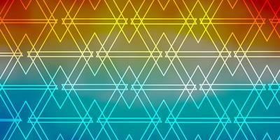modelo de vetor azul claro, vermelho com cristais, triângulos.