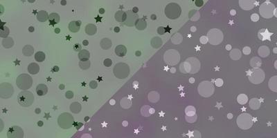 layout de vetor com círculos, estrelas.