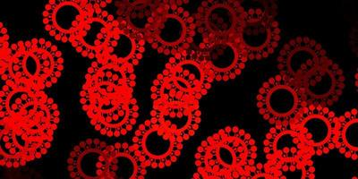 fundo vector vermelho escuro com símbolos covid-19