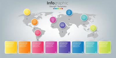 infográfico no conceito de negócio com 8 opções, etapas ou processos.
