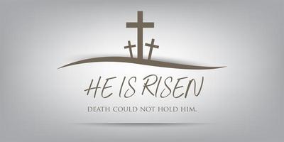 três cruzes na colina, conceito cristão de sexta-feira santa. vetor