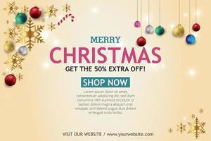 banner de venda de Natal em fundo claro. Loja de texto feliz natal agora. vetor