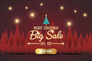 banner de venda de Natal para o produto presente em fundo vermelho. Loja de texto feliz natal agora. vetor