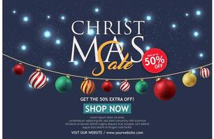 banner de venda de Natal em fundo escuro. Loja de texto feliz natal agora. vetor
