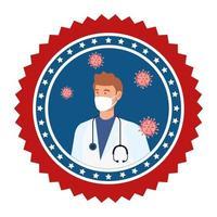 emblema da campanha de prevenção do coronavírus vetor
