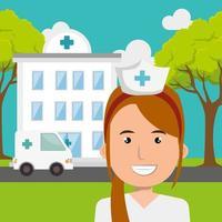 enfermeira com hospital e ambulância vetor