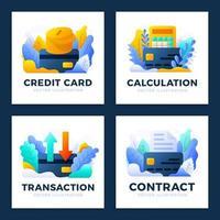 conjunto de designs de pagamento com cartão de crédito