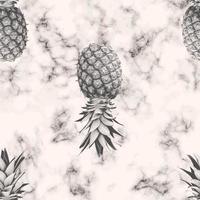 Projeto de padrão sem emenda de textura de mármore de vetor com abacaxi, superfície de mármore preto e branco, fundo moderno e luxuoso, ilustração vetorial