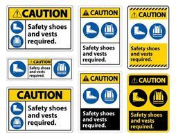 sapatos de segurança e colete necessários com os símbolos ppe vetor