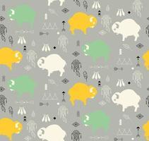 padrão sem emenda com búfalos bebês fofos e símbolos nativos americanos vetor