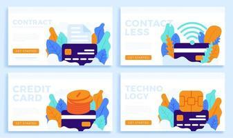 conjunto de design sem contato de cartão de crédito