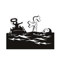 homem se afogando em dívidas de dólar sendo resgatado vetor