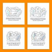 conjunto de design de pagamento com cartão de crédito