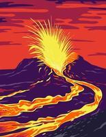 pôster de vulcão ativo do Havaí