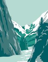 fiordes na arte de pôster do Alaska vetor