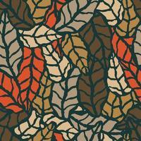 padrão sem emenda com folhas naturais desenhadas à mão
