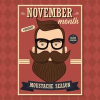 sem barbear design de cartaz de novembro com homem moderno com barba e bigode vetor