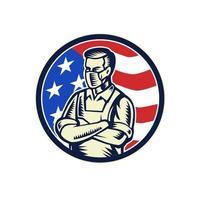 trabalhador da alimentação usando máscara sobre a bandeira dos EUA