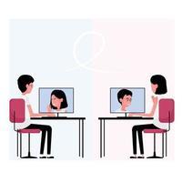 comunicação online com uma pessoa participando de uma reunião no computador vetor