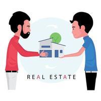 o corretor de imóveis entrega a casa ao comprador após concluir o negócio vetor