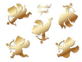 Um conjunto de cupidos de ouro variados.