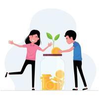economizando dinheiro apresentando um homem e uma mulher colocando moedas em uma jarra