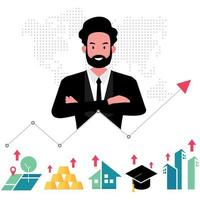 corretor ou corretor de imóveis oferecendo uma casa por trás de um modelo de propriedade vetor