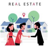 negócio imobiliário com um casal comprando uma casa nova de um corretor de imóveis vetor