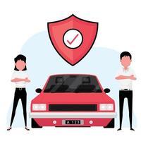 empresa de seguros de automóveis com um agente ao lado de um carro vermelho com o símbolo de proteção vetor