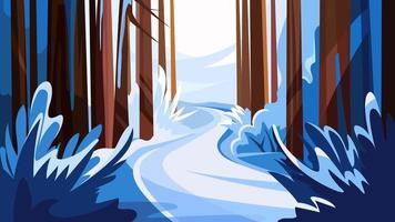 estrada na floresta de inverno.