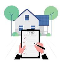 empresa de seguros imobiliários com uma mão escrevendo a lista do contrato vetor