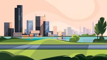 paisagem urbana com estrada e lago. vetor