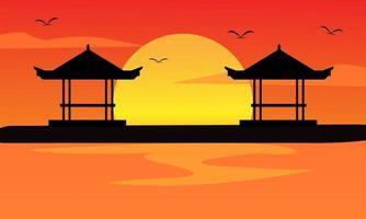 paisagem do pôr do sol em vetor de design plano de bali