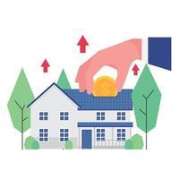 investimento empresarial em imóveis com mão colocando moedas no telhado vetor