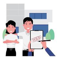 um homem e uma mulher felizes sorriem depois de venderem a casa vetor