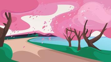 sakura com folhas caindo.