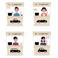 um desenho animado mostrando uma empresa de aluguel de automóveis apresentando um conjunto de imagens de um revendedor sentado no balcão