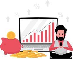 imagem de investimento mostra um homem sentado em frente a um laptop com algumas moedas e um cofrinho