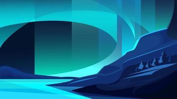 ilustração da aurora boreal. vetor