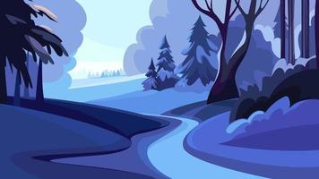 estrada na floresta de inverno ao pôr do sol.