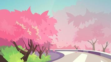 flores de cerejeira ao longo da estrada.