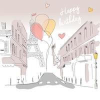cartão de feliz aniversário da rua de paris, torre eiffel e balões, desenhado à mão