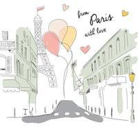 cartão postal da rua de paris, torre eiffel e balões, desenhado à mão