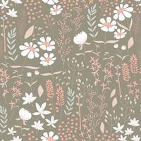 design de padrão sem emenda com flores desenhadas à mão e elementos florais, ilustração vetorial
