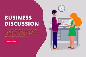 modelo de página de destino de conceito de discussão de negócios vetor